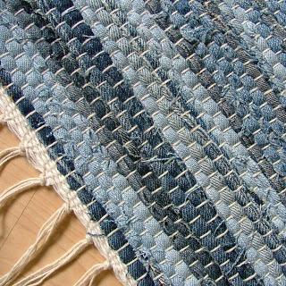 Upcycling: trasmatta av gamla jeans. Bloggen Re-creating.se (återbruk)