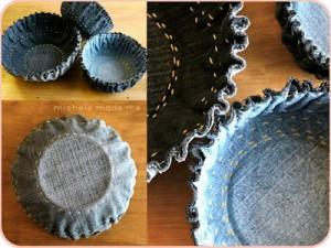 Upcycling: Skålar av jeanstyg. Bloggen Re-creating.se (återbruk)