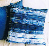 Upcycling: Kuddar av jeans-linningar. Bloggen Re-creating.se (återbruk)