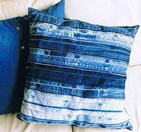 Upcycling: Kuddar av jeans-linningar. Bloggen Re-creating.se (återbruk)